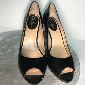 Cole Haan Black Patent Leather Peep Toe Heels